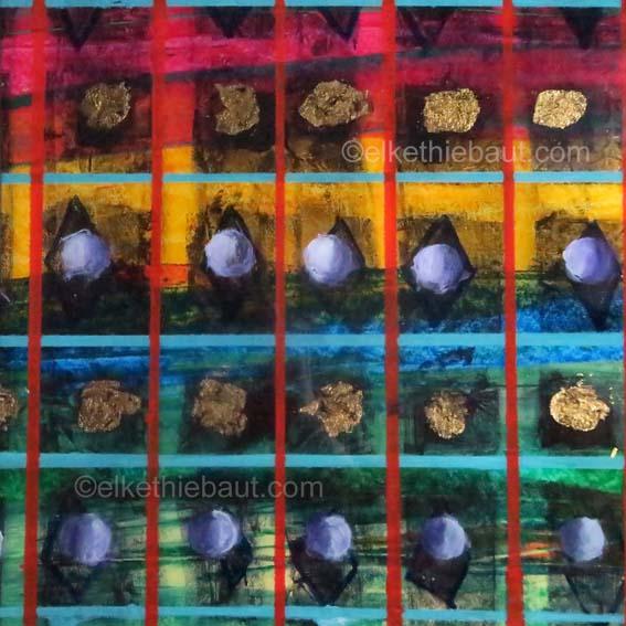 Abstrait N° 88/2017, Acrylique et feuilles de cuivre sur papier marouflé sur panneau MDF, recouvert de résine époxy, 30 x 30 x 1 cm