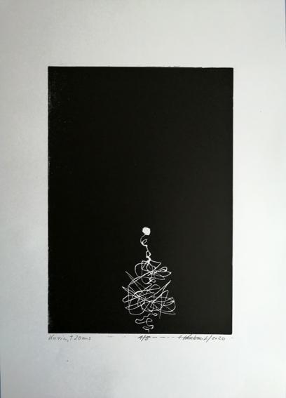 """Lifelines """"Karin"""" - Linogravure sur papier Simili Japon 130 grammes de Clairefontaine taille/size image: 21 x 30 cm taille/size papier/paper: 32,5 cm x 50 cm"""