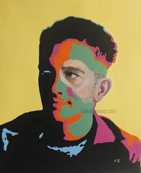 Title/Titre: «Optimiste», acrylique et huile sur papier Fabriano 50 x 60 cm/ acrylics and oil on gessoed Fabriano paper, 50 x 60 cm, 2020