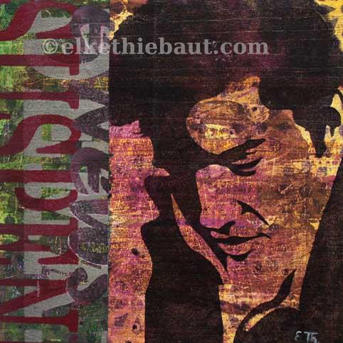 """TiTittre/Title: """"Suspendu"""", acrylique sur bois, pochoirs multiples crées par moi-même et découpés à la main/  stencils made by myself, 20x20x2 cm"""