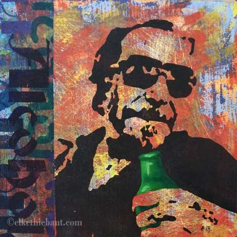 """Title/Titre: """"Alcohol"""", acrylique sur bois, pochoirs multiples crées par moi-même  / stencils made by myself, 30x30x2 cm"""