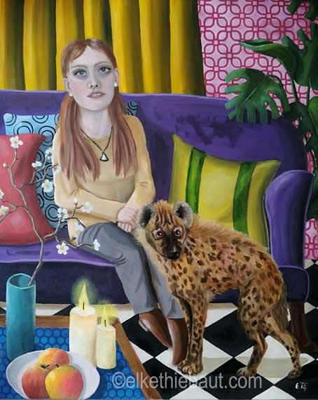 «La Vie est une Hyène», peinture acrylique et huile sur toile de lin fin, 65 x 80 cm, acrylics and oil on stretched linen, 2020