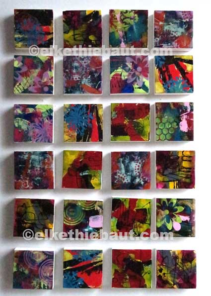 24 petits abstraits, acrylique sur épicéa de Finlande (écofriendly), 9,5x9,5x2 cm, 25 à 48, abstract acrylic painting on  wood