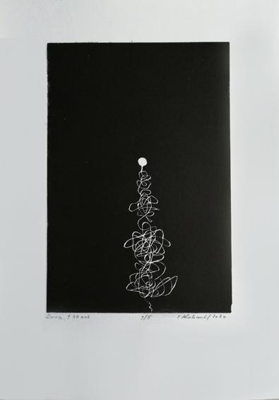 """Lifelines """"Dora"""" - Linogravure sur papier Simili Japon 130 grammes de Clairefontaine taille/size image: 21 x 30 cm taille/size papier/paper: 32,5 cm x 50 cm"""