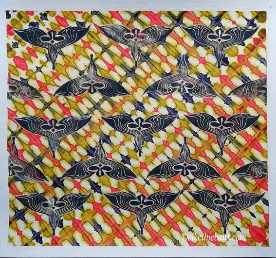 «Le Vol du Phénix»,  technique mixte sur papier Fabriano 400 grammes,  50 x 54 cm/mixed medias on Fabriano paper