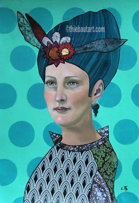 """""""Je voyage seule"""",  acrylique, huile et collages sur papier Clairefontaine 360 gr. recouvert de Gesso, 36 x 48 cm -VENDU/SOLD-"""