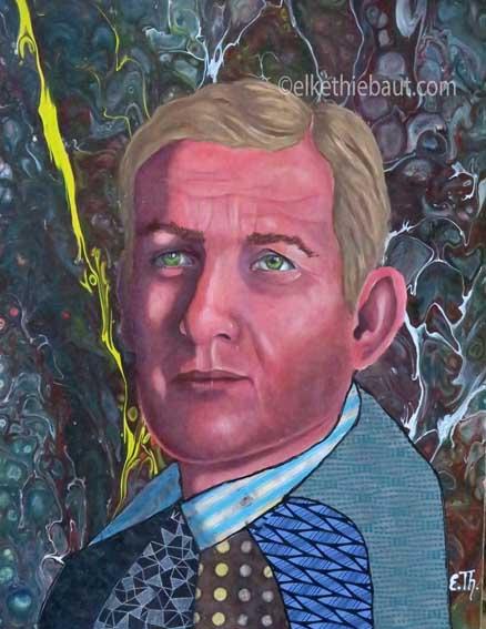 """""""Harald"""", Acrylique, huile et collages sur panneau MDF, 40x30x1 cm"""