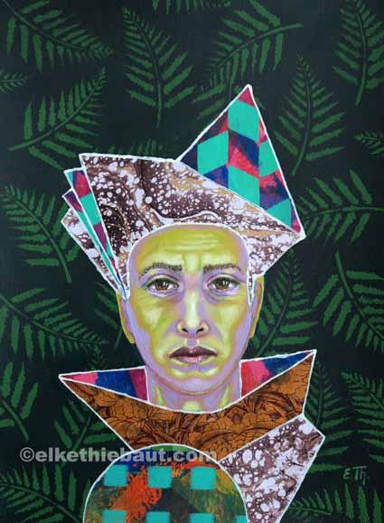 """""""Il faisait semblant"""", acrylique, huile et collages sur papier Clairefontaine recouvert de gesso/ acrylics, oil and collages on paper.30x40cm"""