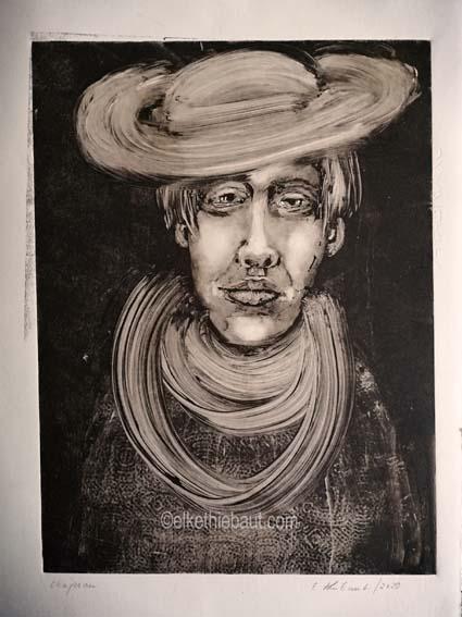 «Chapeau», Monotype sur papier Fabriano Rosaspina, 30x 40 sur papier 35 x 45 cm