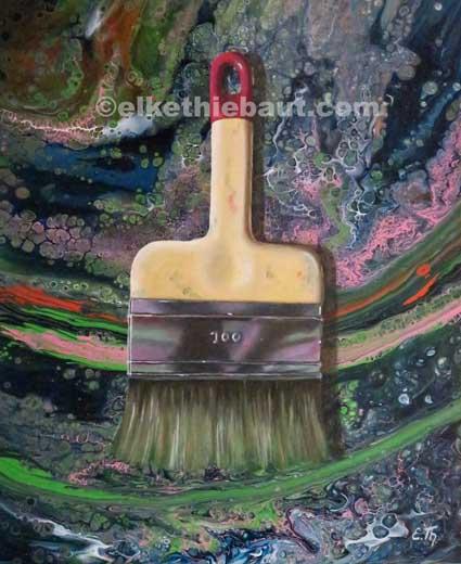 """""""Pinceau"""", acrylique et huile sur panneau MDF (acrylycs and oil on MDF), 50 x 60x 1 cm, 2018"""