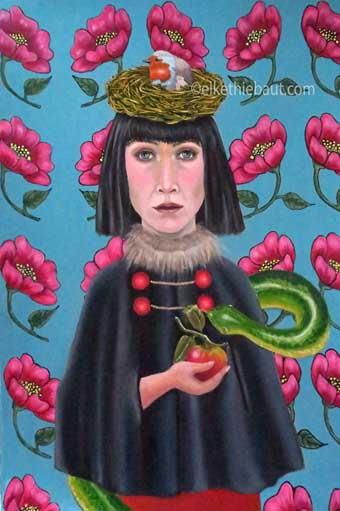 """""""Life and Death"""",  Acrylique  (acrylics) et huile (oil)  sur papier Fabriano 400 grms., vernis, 50 x 70 cm"""