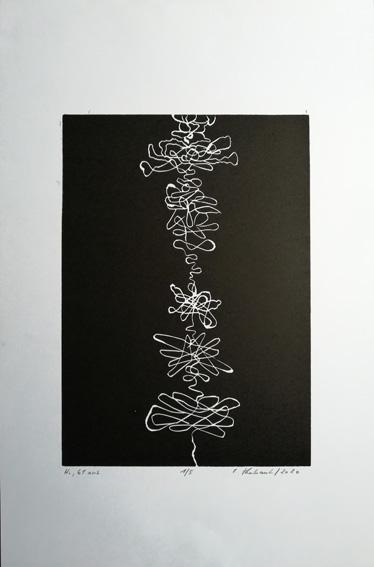 """Lifelines """"Holger"""" - Linogravure sur papier Simili Japon 130 grammes de Clairefontaine taille/size image: 21 x 30 cm taille/size papier/paper: 32,5 cm x 50 cm"""