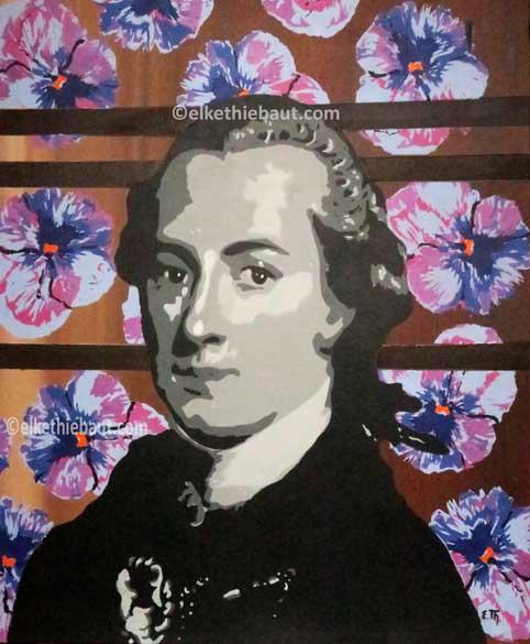 Titre/Title: Kant with Flowers, pochoirs multiples crées par moi-même et découpés à la main sur papier Fabriano 400 gr./ multilayers stencilpainting on Fabriano, 50 x 60 cm