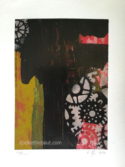 «Time», Acrylique sur papier Clairefontaine 360 grammes, 24 x 30 cm/acrylics on paper Clairefontaine, 24x30 cm, 2020
