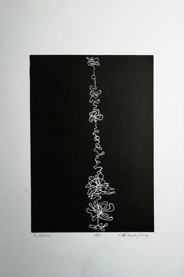 """Lifelines """"E."""" - Linogravure sur papier Simili Japon 130 grammes de Clairefontaine taille/size image: 21 x 30 cm taille/size papier/paper: 32,5 cm x 50 cm"""