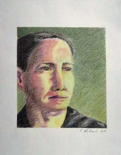"""""""Richard"""", dessin aux crayons de couleur, 15x15 cm sur papier Hahnemühle 210 grammes 20 x 30 cm, colored pencils drawing on Hahnemühle 110 lbs"""