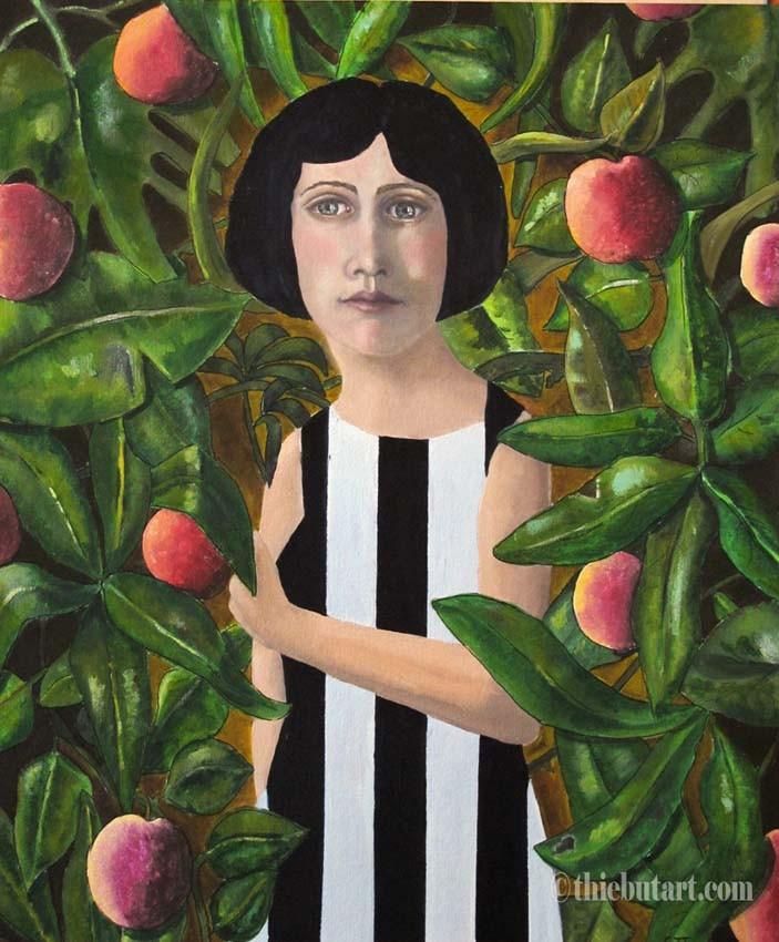 """""""Eve"""", Acrylique et huile sur papier Fabriano 400 grammes marouflé sur panneau HDF, 50 x 70 cm"""