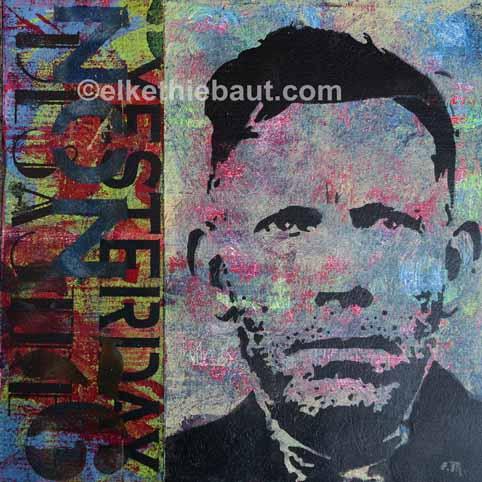 """Title/Titre: """"Yesterday"""", acrylique sur bois, pochoirs multiples crées par moi-même et découpés à la main / stencils made by myself, 30x30x2 cm"""