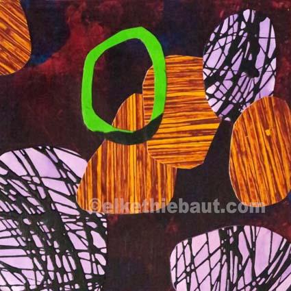 Abstrait N° 103, Collages de papier peints à l'acrylique (par moi-même) sur panneau MDF, recouvert de résine époxy, 20 x 20 cm