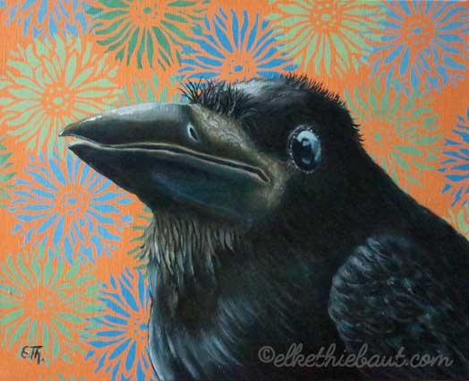 """""""Petit Oiseau"""" (Little Bird), acrylic et huile sur toile de lin, 33 x 42 cm (acrylics an oil on stretched linen)"""