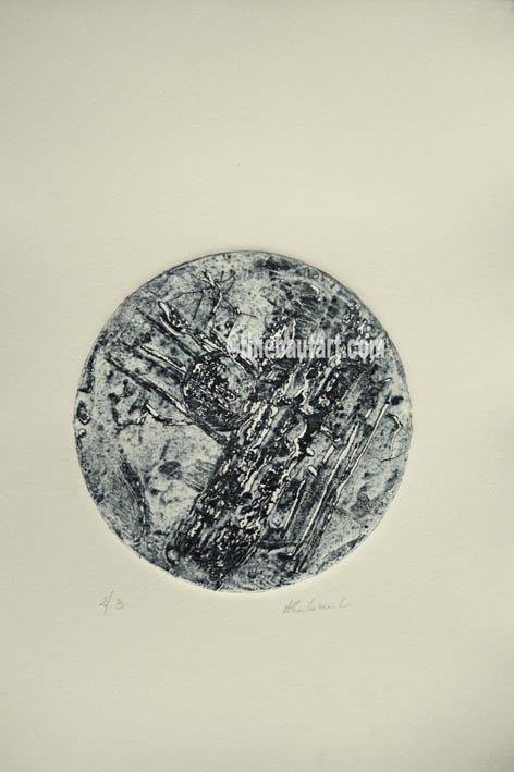Collagraphie sur papier Fabriano Rosaspina 220 grammes, diametre de l'image: 15 cm, sur papier dimensions: 25 x 35 cm