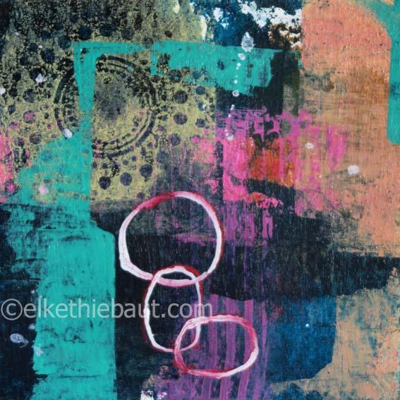 Abstrait N° 56/2017, Acrylique sur papier Fabriano 400 grammes, 15 x 15 cm