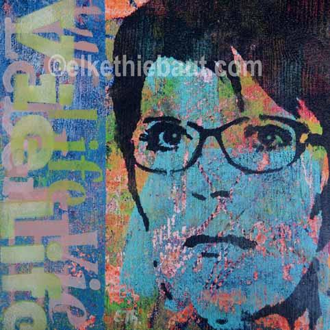 """Title/Titre: """"Vie Life Leben"""", acrylique sur bois, pochoirs multiples crées par moi-même et découpés à la main / stencisl made by myself, 20x20x2 cm"""