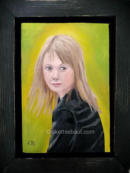 «Etude de Portrait d Jeune fille», huile sur toile de lin fin sur contreplaqué, 13,5 x 9,5x 1 cm/ oil on linin mounted on plywood, 2019