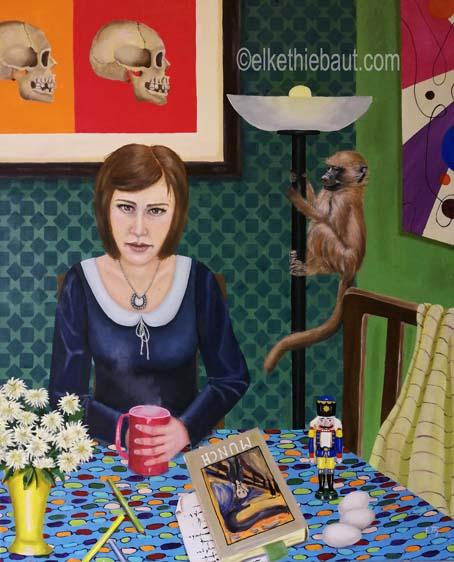 «Le Singe», peinture acrylique et huile sur toile de lin fin, 65 x 80 cm, acrylics and oil on stretched linen, 2019