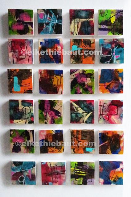 24 petits abstraits, acrylique sur épicéa de Finlande (écofriendly), 9,5x9,5x2 cm, N° 1 à 24, abstract acrylic painting on  wood
