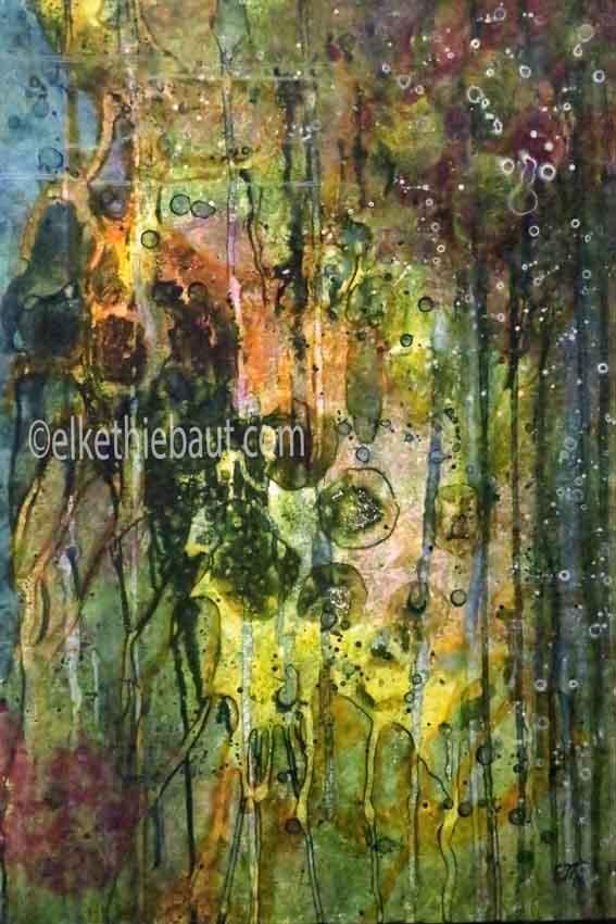 """Abstrait N° 07/2018, """"Dreams of Paradise 1"""", acrylique sur panneau MDF monté sur cadre en bois (voir photos dans le shop), 50 x 70 cm"""