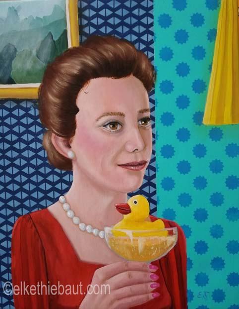 """""""Le petit Canard"""",  acrylique et huile sur lin fin/acrylics an oil on stretched linen, 40 x 50x2 cm"""
