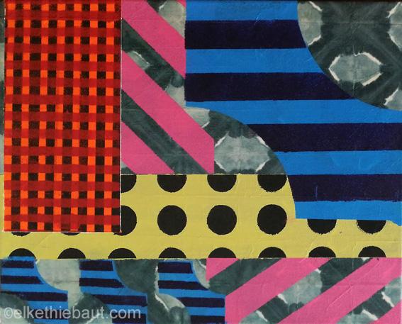 «Dots and Stripes», acrylique sur papier, marouflé sur toile tendue/acrylics on paper, mounted on stretched canvas, 24 x 30 x 3 cm, 2021