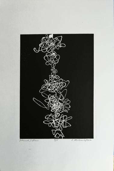 """Lifelines """"Johannes"""" - Linogravure sur papier Simili Japon 130 grammes de Clairefontaine taille/size image: 21 x 30 cm taille/size papier/paper: 32,5 cm x 50 cm"""