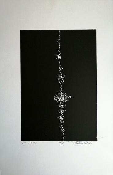 """Lifelines """"Jean"""" - Linogravure sur papier Simili Japon 130 grammes de Clairefontaine taille/size image: 21 x 30 cm taille/size papier/paper: 32,5 cm x 50 cm"""