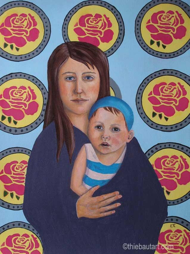 """""""Madone avec Enfant""""/""""Madonna with Child"""", acrylique sur papier Fabriano 400 grammes, 50 x 70 cm"""