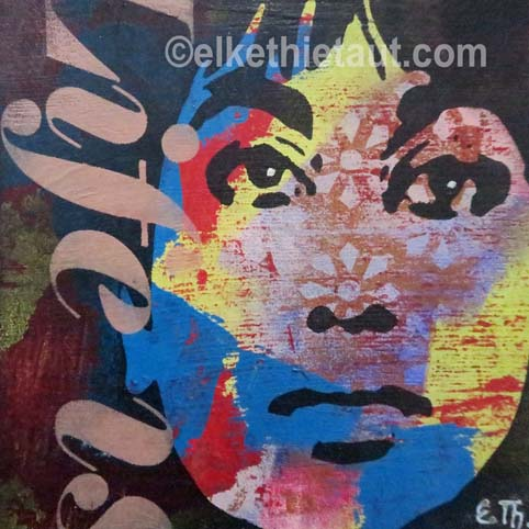 """""""Souvenir"""", acrylique sur bois, pochoirs multiples crées par moi-même et découpés à la main /stencils made by myself, 20x20x2 cm"""