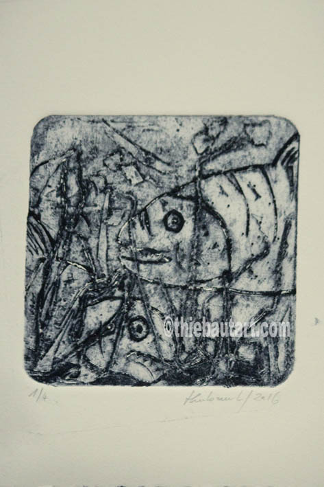 Collagraphie sur papier Fabriano Rosaspina 220 grammes, dimensions de l'image: environ 13 x 13 cm sur papier dimensions: environ 25 x 18 cm
