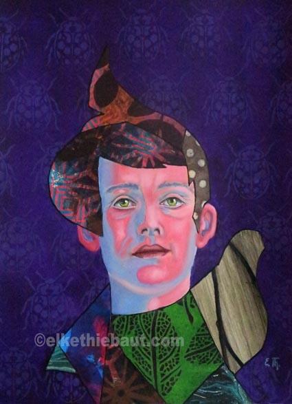"""""""Les Yeux dans les Etoiles"""",  acrylique, huile et collages sur papier Clairefontaine recouvert de gesso/ acrylics, oil and collages on paper. 30x40cm"""