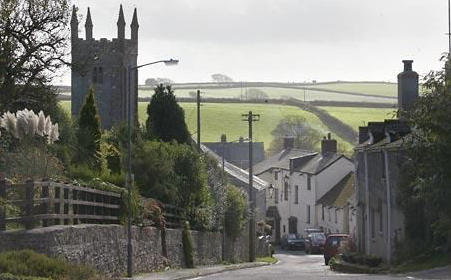 Picture of Lanreath Village showing churc and Punch Bowl Inn