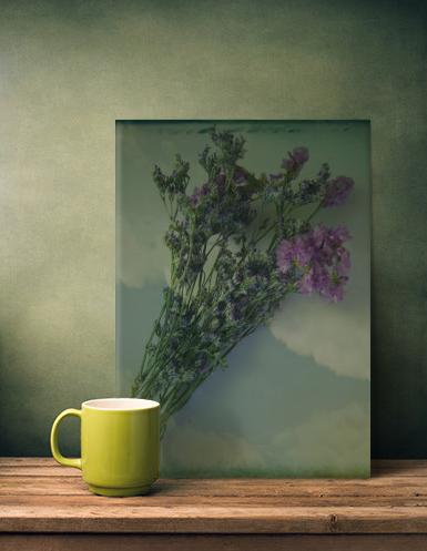 Lilacs vintage photograph, hand painted and textured, you can buy it at society6, displate and curioos