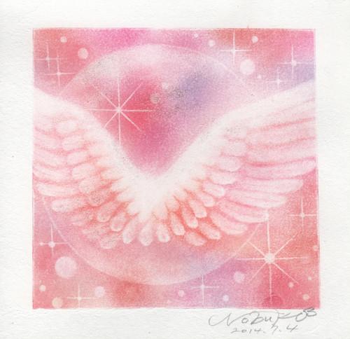 片翼の羽根アート