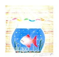 パステル和アート、すだれと金魚鉢 ヒーリングハーツ熊本
