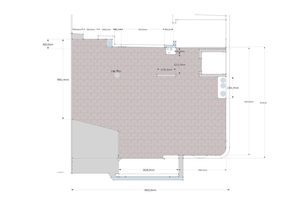 plateau à aménager en cuisine ouverte sur salle à manger vue 2D dessus