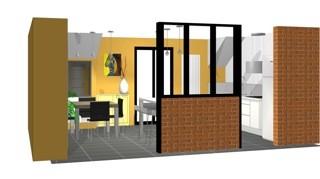 côté salle à manger intégrée dans espace cuisine