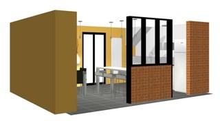 Projet de verrière d'artiste dans une cuisine réalisée à Rueil Malmaison