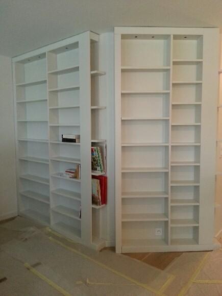 bibliothèque sur mesure, laquée en cabine, en cours