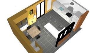 vue plongeante 3D cuisine ouverte