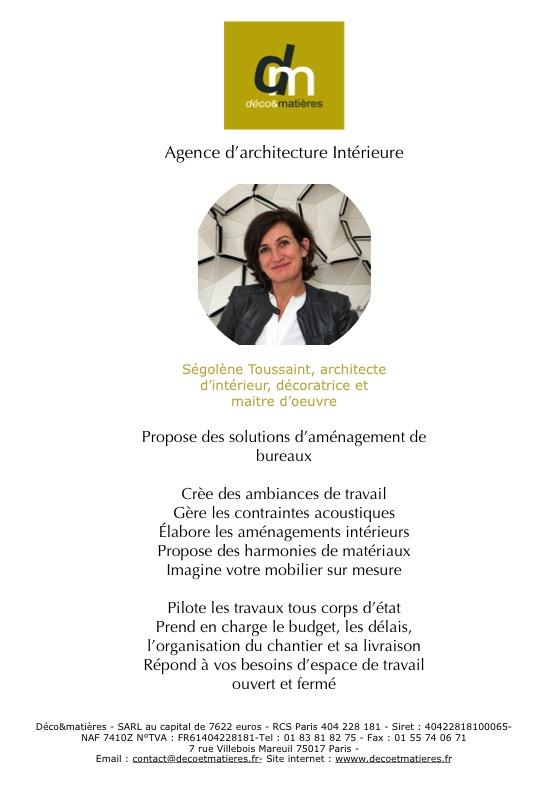 Ségolène Toussaint - déco&matières architecture intérieure, propose des solutions d'aménagement de bureaux