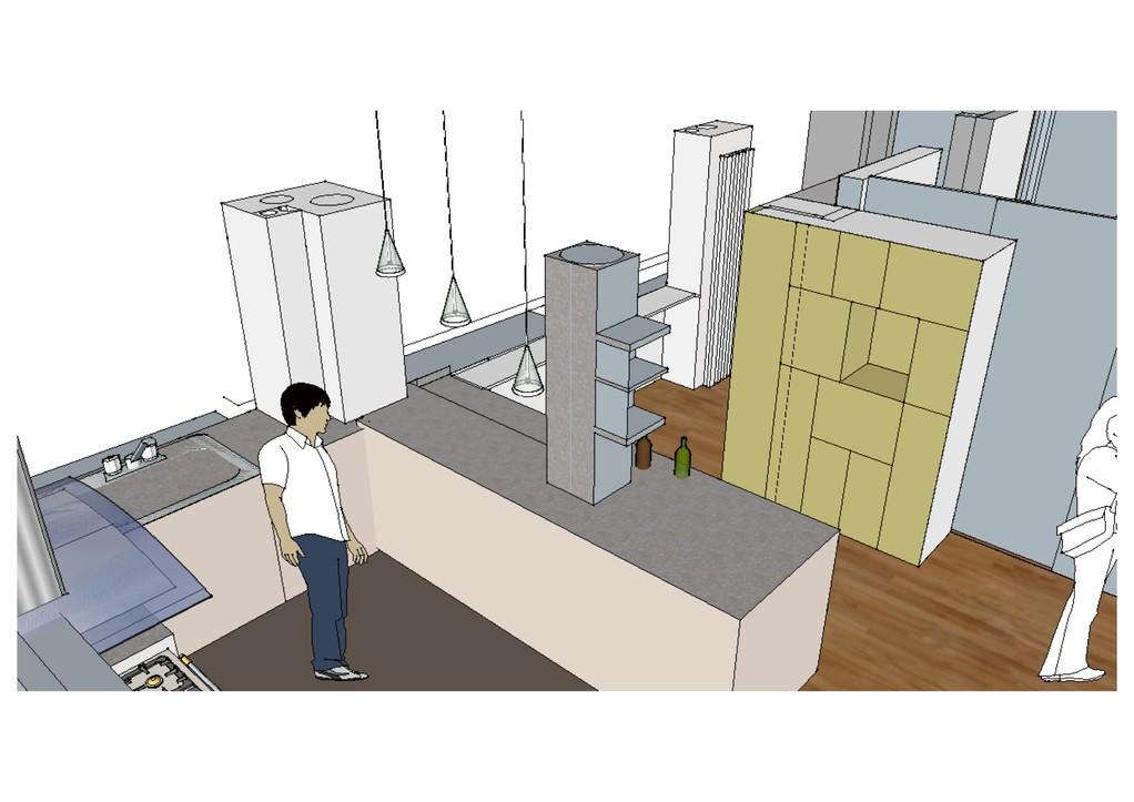 vue entrée espace cuisine lumineuse et fonctionnelle